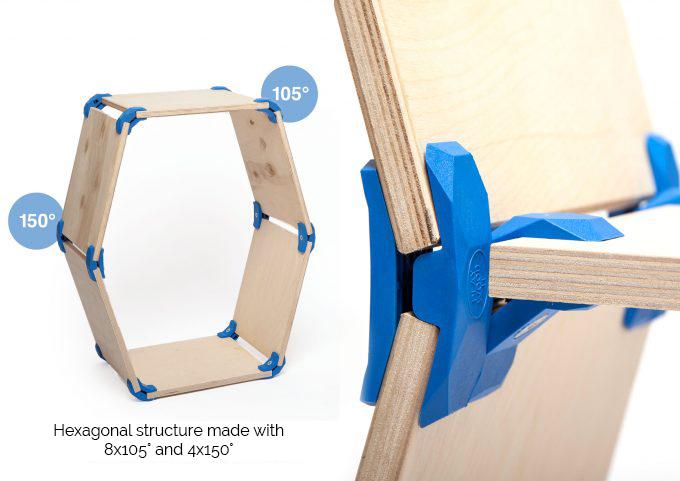 Connecteurs 105° structure Hexagonale